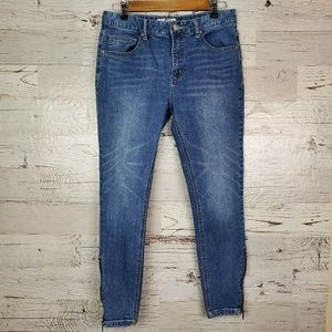 Free People Zippered Ankle Stretchy Skinny Jean